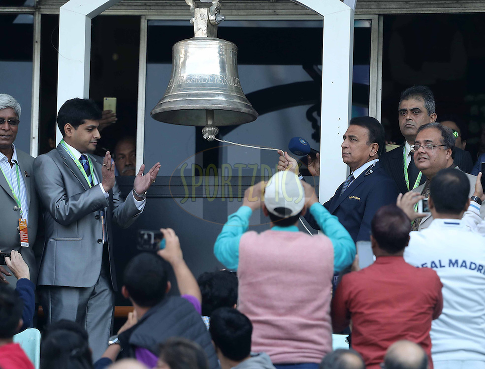 Sunil Gavaskar rings the bell during the third One Day International (ODI) between India and England  held at Eden Gardens in Kolkata on the 22nd January 2017<br /> <br /> Photo by: Ron Gaunt/ BCCI/ SPORTZPICS