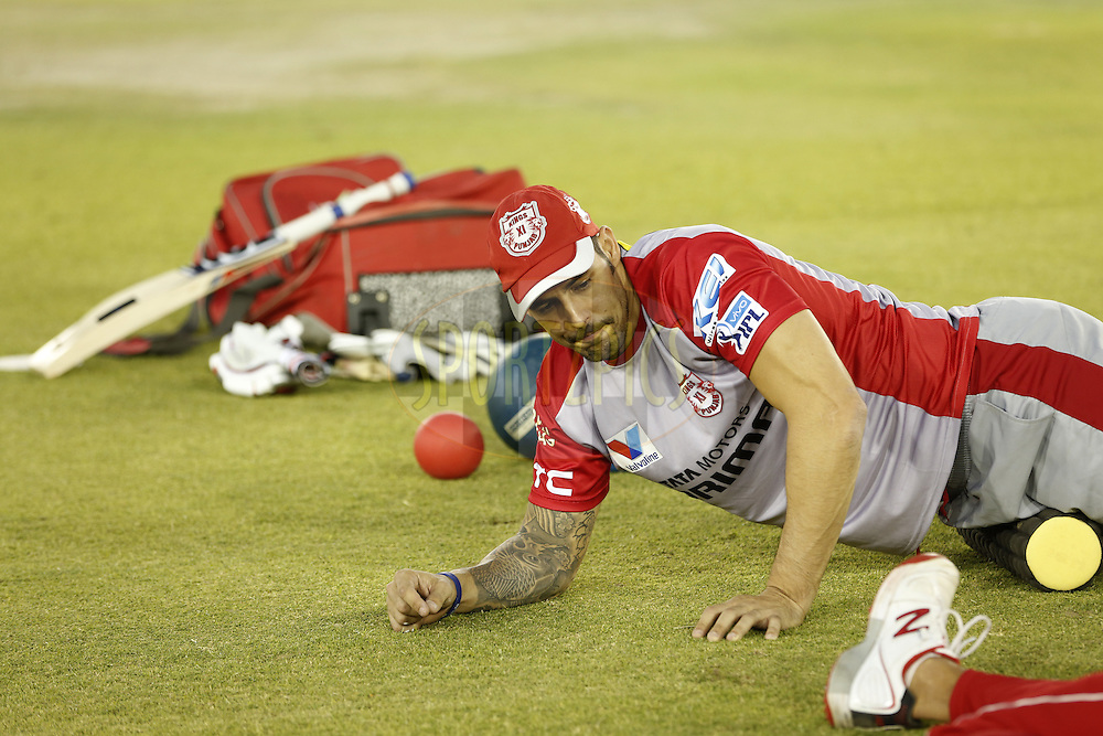 Mitchell Johnson of Kings XI Punjab during match 21 of the Vivo Indian Premier League ( IPL ) 2016 between the Kings XI Punjab and the Mumbai Indians held at the IS Bindra Stadium, Mohali, India on the 25th April 2016<br /> <br /> Photo by Arjun Singh / IPL/ SPORTZPICS