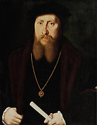 William Paget, 1st Baron Paget of Beaudesert (1506-1563) English statesman and diplomat,  adviser to Henry VIII. Comptroller of the  Household to Edward VI. Portrait of Paget wearing a jewel showing St George, the symbol of the Order of the Garter. Attributed to the Master of the Statthalterin Madonna.