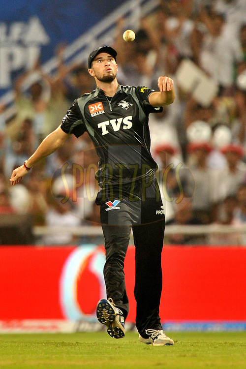 Waynne Parnell of Pune Warriors India reacts after taking a catch during  match 10 of the Indian Premier League ( IPL ) Season 4 between the Pune Warriors and the Kochi Tuskers Kerala held at the Dr DY Patil Sports Academy, Mumbai India on the 12th April 2011..Photo by Pal Pillai /BCCI/SPORTZPICS