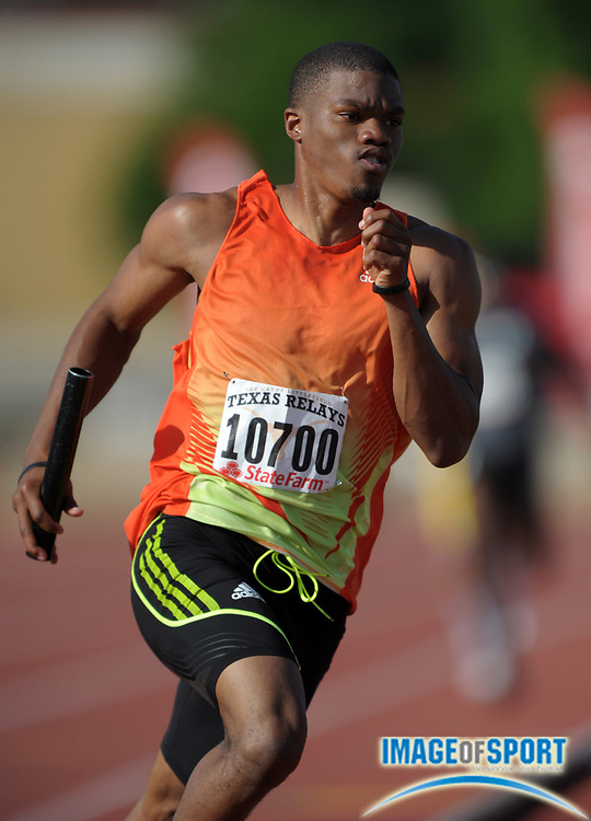Mar 31, 2012; Austin, TX, USA; Lionel Larry runs the third leg on the TG Elite 4 x 400m relay in the 85th Clyde Littlefield Texas Relays at Mike A. Myers Stadium.