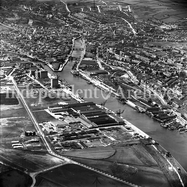 A133 Cork.    (Part of the Independent Newspapers Ireland/NLI collection.)<br /> <br /> <br /> These aerial views of Ireland from the Morgan Collection were taken during the mid-1950's, comprising medium and low altitude black-and-white birds-eye views of places and events, many of which were commissioned by clients. From 1951 to 1958 a different aerial picture was published each Friday in the Irish Independent in a series called, 'Views from the Air'.<br /> The photographer was Alexander 'Monkey' Campbell Morgan (1919-1958). Born in London and part of the Royal Artillery Air Corps, on leaving the army he started Aerophotos in Ireland. He was killed when, on business, his plane crashed flying from Shannon.