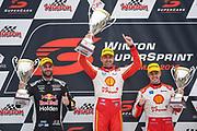 20th May 2018, Winton Motor Raceway, Victoria, Australia; Winton Supercars Supersprint Motor Racing; Shane VanGisbergen, Fabian Coulthard and Scott McLaughlin smile on the podium