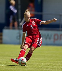 HAVERFORDWEST, WALES - Saturday, June 14, 2014: Wales' Sophie Ingle in action against Turkey during the FIFA Women's World Cup Canada 2015 Qualifying Group 6 match at the Bridge Meadow Stadium. (Pic by David Rawcliffe/Propaganda)