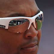 Marlon Byrd, New York Mets, wearing sunglasses reflecting Citi Field during the New York Mets V Chicago Cubs Baseball game at Citi Field, Queens, New York. USA. 15th June 2013. Photo Tim Clayton