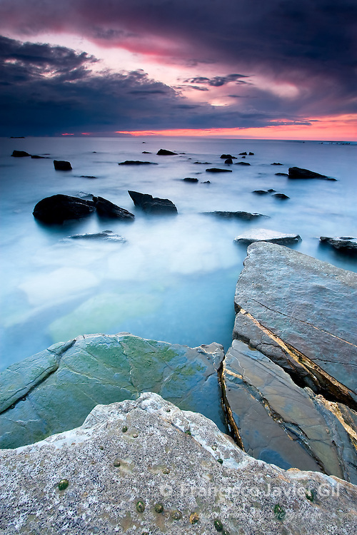 Beach of Barrika at dusk, Bizkaia (Spain)