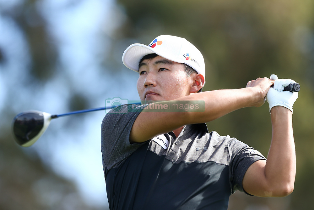 January 27, 2018 - San Diego, California, United States - Sung Kang tees off 18th hole during the third round of the 2018 Farmers Insurance Open at Torrey Pines GC. (Credit Image: © Debby Wong via ZUMA Wire)