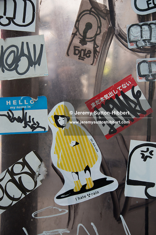 Anti-nuclear and Anti-TEPCO street art stickers, by '281 Anti Nuke', in Tokyo, Japan, Tuesday 10th April 2012.