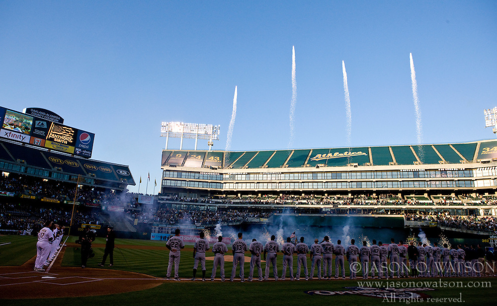 April 5, 2010; Oakland, CA, USA;  Fireworks were set off before the game between the Oakland Athletics and the Seattle Mariners at Oakland-Alameda County Coliseum. Seattle defeated Oakland 5-3.