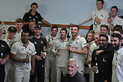 The players after promotion following the Specsavers County Champ Div 2 match between Sussex County Cricket Club and Nottinghamshire County Cricket Club at the 1st Central County Ground, Hove, United Kingdom on 28 September 2017. Photo by Simon Trafford.