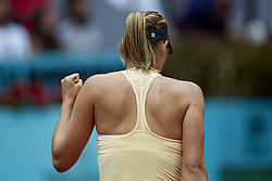 May 9, 2018 - Madrid, Madrid, Spain - Maria Sharapova of Russia celebrates a point in her match against Kristina Mladenovic of France during day five of the Mutua Madrid Open tennis tournament at the Caja Magica on May 9, 2018 in Madrid, Spain  (Credit Image: © David Aliaga/NurPhoto via ZUMA Press)