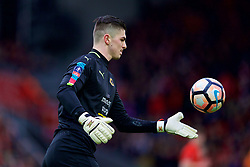 LIVERPOOL, ENGLAND - Saturday, January 28, 2017: Wolverhampton Wanderers' goalkeeper Harry Burgoyne in action against Liverpool during the FA Cup 4th Round match at Anfield. (Pic by David Rawcliffe/Propaganda)