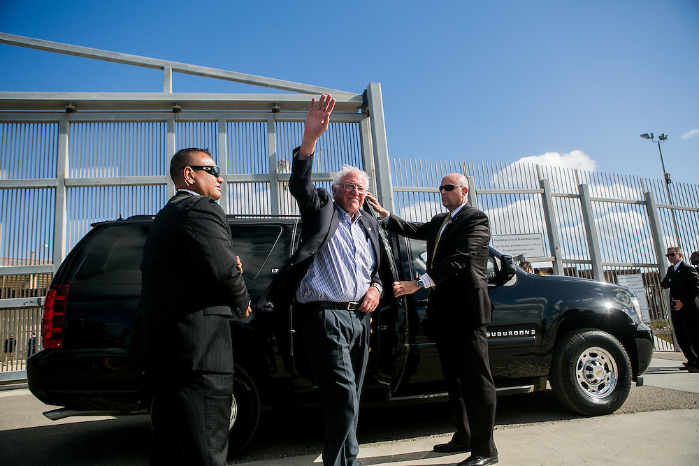 SAN DIEGO, CA - MAY 21, 2016: Democratic presidential candidate Bernie Sanders visits the U.S.-Mexico border at International Friendship Park in San Diego, California. CREDIT: Sam Hodgson for The New York Times.