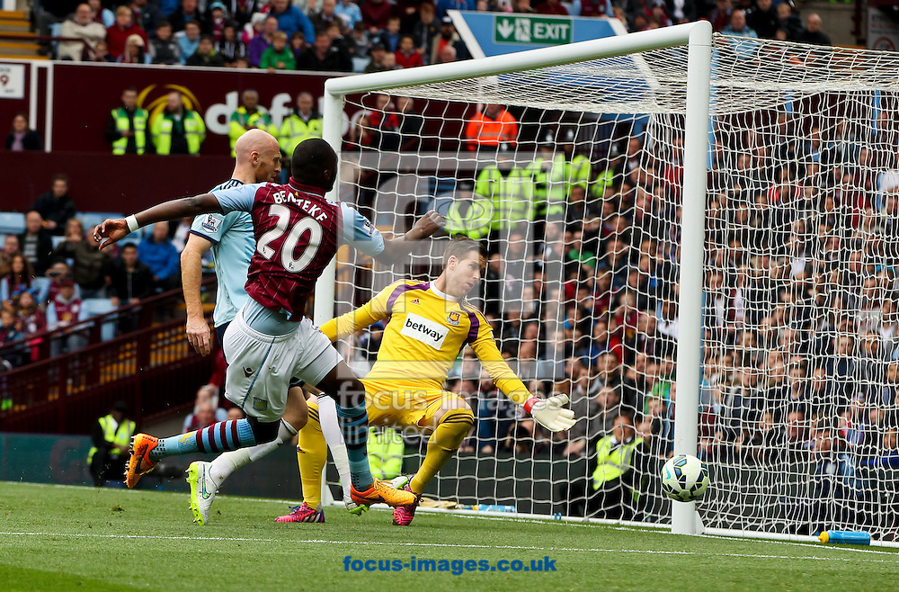 Christian Benteke (2nd left) of Aston Villa puts his shot wide during the Barclays Premier League match at Villa Park, Birmingham<br /> Picture by Tom Smith/Focus Images Ltd 07545141164<br /> 09/05/2015