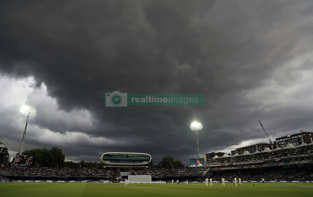 Dark clouds gather during day two of the Third Investec Test match between England and West Indies at Lord's, London.