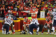 Jan 20, 2019; Kansas City, MO, USA; Kansas City Chiefs quarterback Patrick Mahomes (15) signals for a play during the AFC Championship game at Arrowhead Stadium. The Patriots defeated the Chiefs 37-31 in overtime to advance to their fifth Super Bowl in eight seasons. (Robin Alam/Image of Sport)