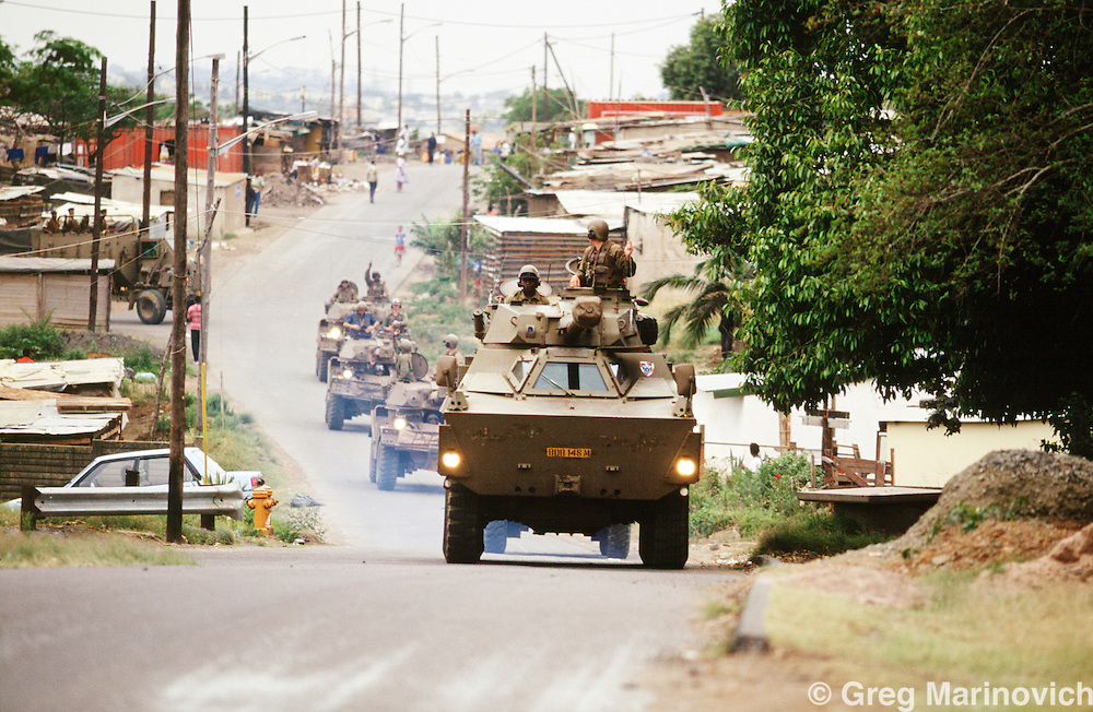 KwaZulu Natal, South Africa, 1994. SADF armoured vehicles in Section A KwaMashu Hostel, an Inkatha stronghold.