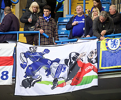 LONDON, ENGLAND - Sunday, May 3, 2015: A Chelsea supporters' banner depicting Diego Costa stamping on a Liverpool player which looks like Steven Gerrard but has Redknapp on the back during the Premier League match against Crystal Palace at Stamford Bridge. (Pic by David Rawcliffe/Propaganda)