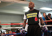 """Mayweather Gym: Floyd """"Money"""" Mayweather worked out for the media in preparation of his Sept. 17, 2011 fight with Victor Ortiz."""