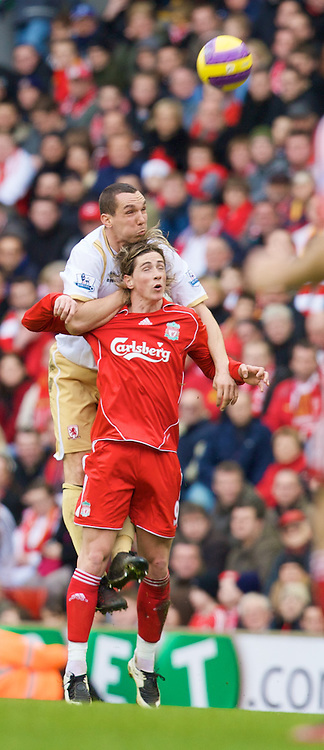 LIVERPOOL, ENGLAND - Saturday, February 23, 2008: Liverpool's Fernando Torres and Middlesbrough's Emanuel Pogatetz during the Premiership match at Anfield. (Photo by David Rawcliffe/Propaganda)