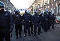 Riot police evicting 21 houses of squatters in St. Agnes Place Kennington South london after 30 years of squatting the street.