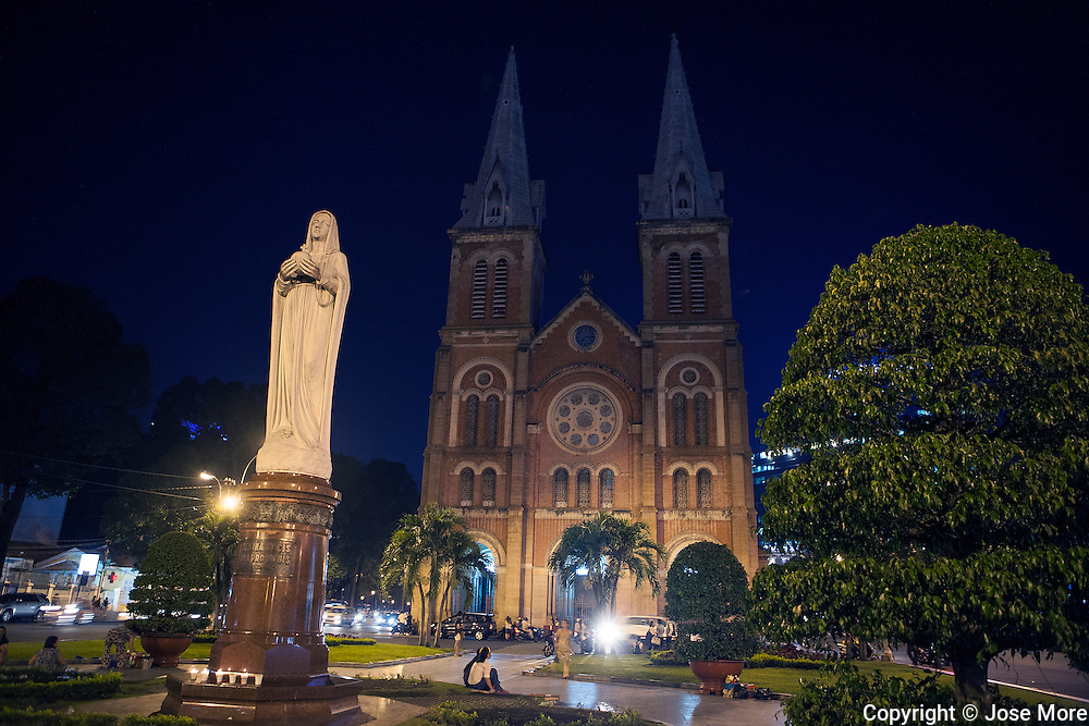 Saigon Notre Dame Basilica (Vietnamese: Vương cung th&aacute;nh đường Đức B&agrave; S&agrave;i G&ograve;n or Nh&agrave; thờ Đức B&agrave; S&agrave;i G&ograve;n in Ho Chi Minh City ( Th&agrave;nh phố Hồ Ch&iacute; Minh ), formerly named Saigon is the largest city in Vietnam with a population reaching 10 million. Ho Chi Minh City is a contrast of  French colonial, traditional and modern architecture. <br /> Photography by Jose More