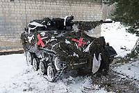 23 FEB 2013, LETZLINGEN/GERMANY:<br /> Wiesel 1 MK 20 mit Wintertarnung waehrend einer Gefechtsuebung der Panzergrenadiere im Winter, Gefechtsuebungszentrum Heer, Truppenuebungsplatz Altmark<br /> IMAGE: 20130223-01-045<br /> KEYWORDS: Gefechtsübung, Schützenpanzer, Schnee, Gefechtsübungszentrum; Bundeswehr, Panzer, Heer, Armee, Streikräfte, Militaer, Miltär, Streitkraefte, Streitkräfte, Panzer