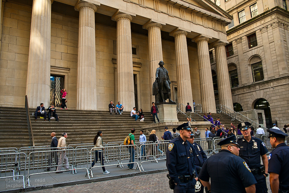 Police and barricades in front of Federal Hall, site of George Washington's first inauguration as president of the U.S., New York, NY