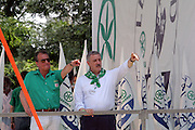 (from left) Roberto Calderoli, Minister of Normative Simplification of Berlusconi cabinet, with Guido Podestà, candidate for President of Milan Provincial Administration, at Lega Nord (Northern League party) meeting in Pontida, Sunday, June 14, 2009. ..
