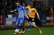 Bradley Halliday of Cambridge United and Nicky Deverdics of Hartlepool United in action during the EFL Sky Bet League 2 match between Cambridge United and Hartlepool United at the Cambs Glass Stadium, Cambridge, England on 14 March 2017. Photo by Harry Hubbard.