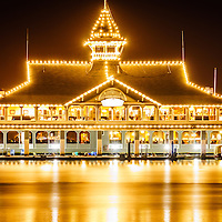 Newport Beach Balboa Pavilion at night picture. The Balboa Pavilion is a historic landmark located along Newport Harbor in Orange County California.