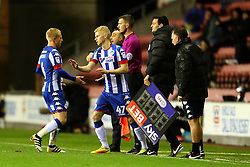 James Weir of Wigan Athletic replaces David Perkins to make his club debut - Mandatory by-line: Matt McNulty/JMP - 03/02/2017 - FOOTBALL - DW Stadium - Wigan, England - Wigan Athletic v Sheffield Wednesday - Sky Bet Championship