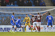 Northampton Town midfielder John-Joe O'Toole (21) scores a goal (0-1) during the EFL Sky Bet League 1 match between Gillingham and Northampton Town at the MEMS Priestfield Stadium, Gillingham, England on 12 November 2016. Photo by Martin Cole.