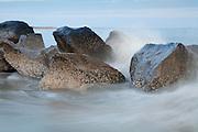 Waves splasing on Jettys.<br /> -Tybee Island, GA