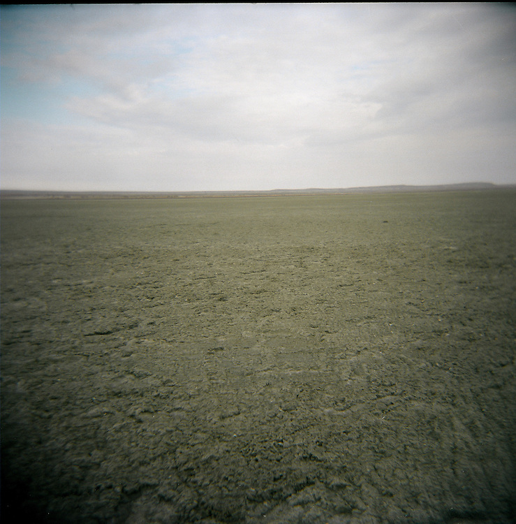 CREDIT: DOMINIC BRACCO II..SLUG:PRJ/KAZAKHSTAN..DATE:10/31/2009..CAPTION:A vew of the old Aral Sea bed on Oct. 30, 2009. The small vegetation had been completely grazed over and cut down by locals by their herds or for use of firewood. The destruction of vegetation on the former sea bed allows sands to blow away and further spread the effects of desertification...Aral Sea Overview: ..During the 1960s the USSR began irrigating the waters of the Aral Sea in southern Kazakhstan to combat their growing food crisis. The Soviets severely miscalculated and water began receding quickly from the port cities. The waters continued to recede. By 2000 the water was 80 km away from the city of Aralsk, a main seaport in Kazakhstan. In 2005 with help from the World Bank, construction began on a 13km dike that locals hoped would bring the waters back to their original shores. The project raised water quality and fishing was able to resume, however four years after completion of the dike the water is still 50km from Aralsk's port. Locals seem mixed on the possibility of the sea returning after more than 40 years without the sea. Fishermen from Aralsk make a three-hour path through soft desert road along the former seabed. The only source of income for many is cattle, horses, and camels, which have, began to overgraze the areas of the former seabed and surrounding desert. Because of this nutrient rich topsoil is lifted by the wind and the process of desertification continues.  .