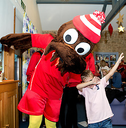 Scrumpy the mascot dabs with children during Bristol City's visit to the Children's Hospice South West at Charlton Farm - Mandatory by-line: Robbie Stephenson/JMP - 21/12/2016 - FOOTBALL - Children's Hospice South West - Bristol , England - Bristol City Children's Hospice Visit