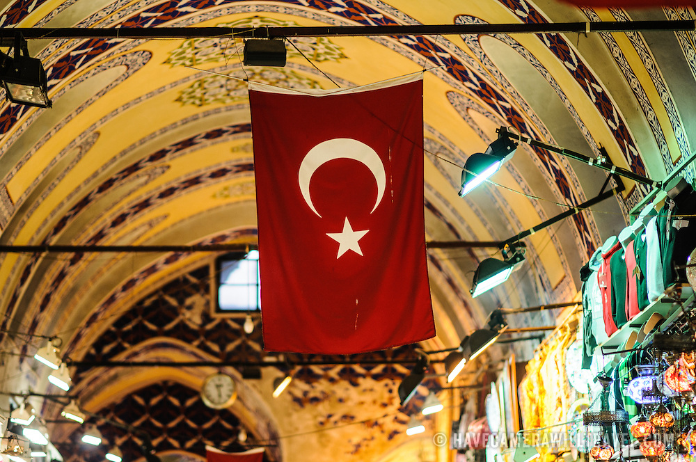 A Turkish flag hangs Inside Istanbul's historic Grand Bazaar