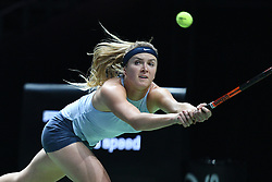 SINGAPORE, Oct. 23, 2017  Elina Svitolina of Ukraine competes during the group match against Caroline Wozniacki of Denmark at WTA Finals tennis tournament in Singapore, Oct. 23, 2017. (Credit Image: © Then Chih Wey/Xinhua via ZUMA Wire)