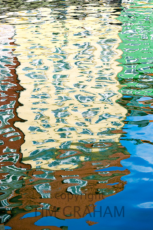 Abstract color reflections in ripples at Nyhavn waterfront canal famous view in Copenhagen, Denmark