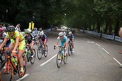 The riders reaches the end of Birdcage Walk during the Prudential RideLondon Classique, a 66 km road race in London on July 30, 2016 in the United Kingdom.