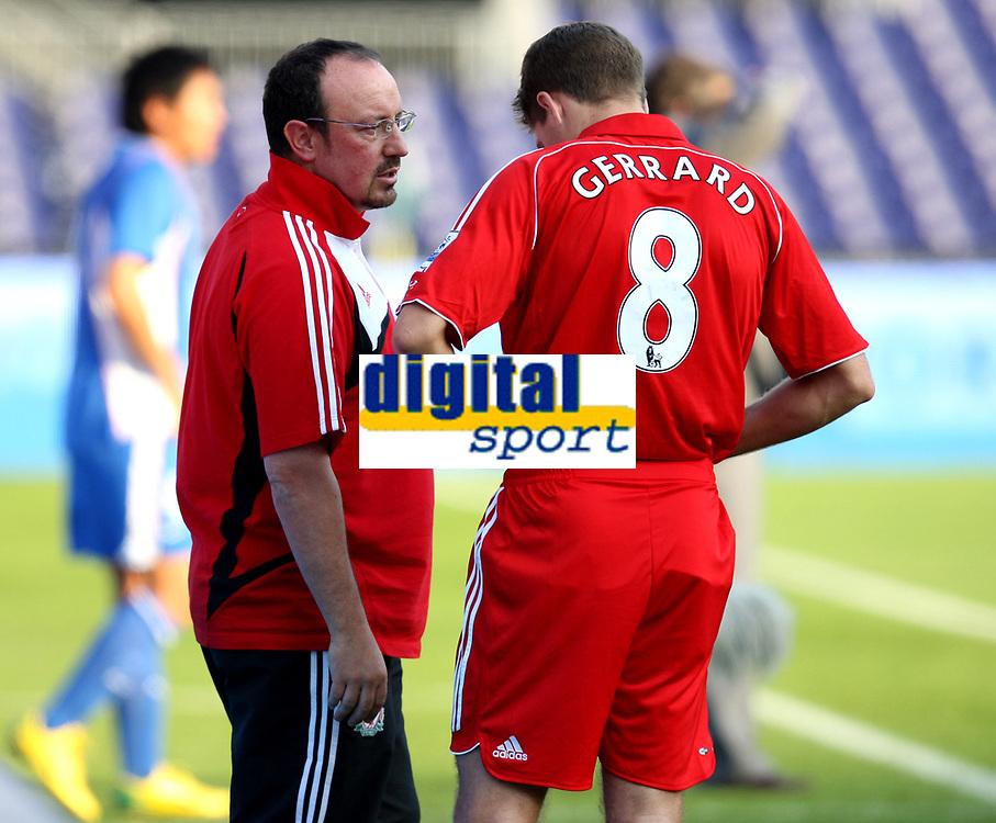 Photo: Maarten Straetemans.<br /> Shanghai Shenhua v Liverpool. Rotterdam Tournament. 03/08/2007.<br /> Rafael Benitez with Steven Gerrard