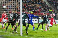 ALKMAAR - 20-02-2016, AZ - FC Groningen, AFAS Stadion, AZ speler Vincent Janssen scoort hier d e 1-0, doelpunt, FC Groningen doelman Segio Padt.