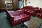 "Chief Petty Officers Lounge, below decks of the 1944 USS Missouri, a floating museum at Pearl Harbor, Oahu, Hawaii, USA. Ordered in 1940 and active in June 1944, the USS Missouri (""Mighty Mo"") was the last battleship commissioned by the United States. She is best remembered as the site of the surrender of the Empire of Japan which ended World War II on September 2, 1945 in Tokyo Bay. In the Pacific Theater of World War II, she fought in the battles of Iwo Jima and Okinawa and shelled the Japanese home islands. She fought in the Korean War from 1950 to 1953. Decommissioned in 1955 into the United States Navy reserve fleets (the ""Mothball Fleet""), she was reactivated and modernized in 1984 and provided fire support during Operation Desert Storm in January-February 1991. The ship was decommissioned in March 1992. In 1998, she was donated to the USS Missouri Memorial Association and became a museum at Pearl Harbor, on the island of Oahu, Hawaii, USA."