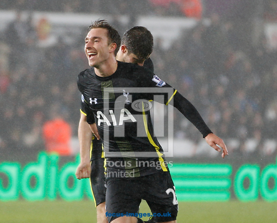Christian Eriksen scores the second goal for Tottenham Hotspur during the Barclays Premier League match at the Liberty Stadium, Swansea<br /> Picture by Mike Griffiths/Focus Images Ltd +44 7766 223933<br /> 14/12/2014