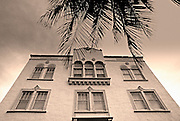 Image of an art deco building and palm tree in South Beach, Miami, Florida, American Southeast  (toned black & white conversion)