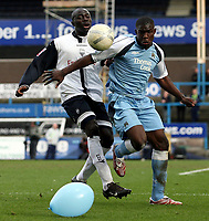 Photo: Paul Thomas.<br /> Preston North End v Manchester City. The FA Cup. 18/02/2007.<br /> <br /> Preston's Patrick Agyemang (L) can't beat last man Micah Richards.