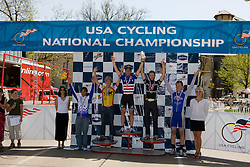 Men's Division 1 individual criterium winners Phillip Mann (Colorado State University), Steve Scholzen (University of Wisconsin - Madison), Alex Boyd (Midwestern State University), Joshua Lipka (University of New Hampshire), and Rodney Santiago (Pennsylvania State University).  Podium awards were given out after The 2008 USA Cycling Collegiate National Championships Criterium event held in Fort Collins, CO on May 11, 2008.
