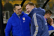 USA's USWNT head coach Vlatko Andonovski and Sweden's head coach Peter Gehrardsson greet each other prior to the start of the  international friendly women's soccer match between the United States and Sweden, Thursday, Nov. 7, 2019, in Columbus, Ohio. USA defeated Sweden 3-2 . (Jason Whitman/Image of Sport)