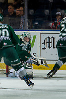KELOWNA, CANADA - JANUARY 9: Dustin Wolf #32 of the Everett Silvertips makes a save against the Kelowna Rockets  on January 9, 2019 at Prospera Place in Kelowna, British Columbia, Canada.  (Photo by Marissa Baecker/Shoot the Breeze)