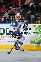 KELOWNA, CANADA - JANUARY 28: Reid Gardiner #23 of the Kelowna Rockets skates with the puck against the Portland Winterhawks on January 28, 2017 at Prospera Place in Kelowna, British Columbia, Canada.  (Photo by Marissa Baecker/Shoot the Breeze)  *** Local Caption ***